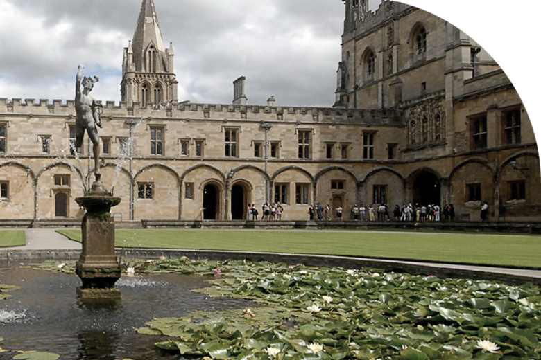 A fountain in the middle of Christ Church's main quad