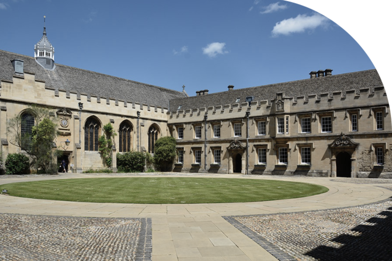The front quad of St John's on a sunny day